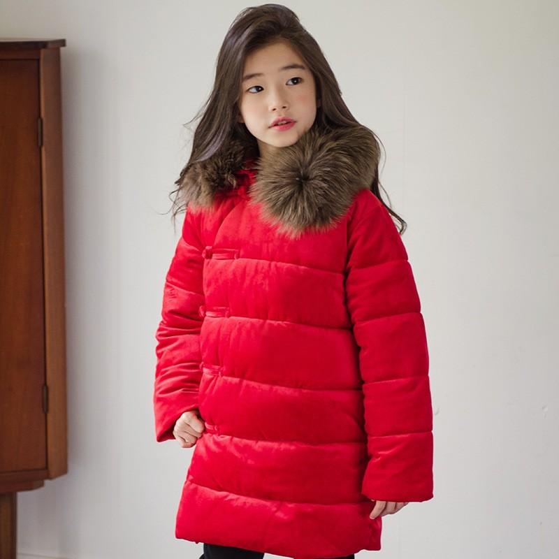 af4904df9 Big Baby Girls Cotton Long Winter Jacket Clothes Children Fur Collar ...