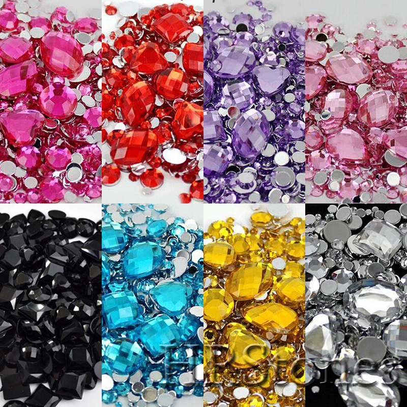 1000pcs مزيج الحجم والشكل عشوائية بلورات الاكريليك الراين الملونة الغراء على أحجار الراين DIY أكري