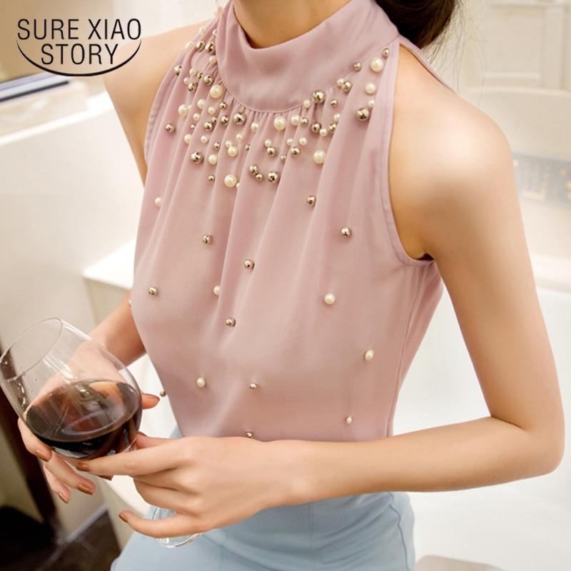 2018 New Women Beading   Shirt   women Korean Fashion clothes Sleeveless Women Solid Color Chiffon   Blouse     Shirt   Women Tops 835I 42