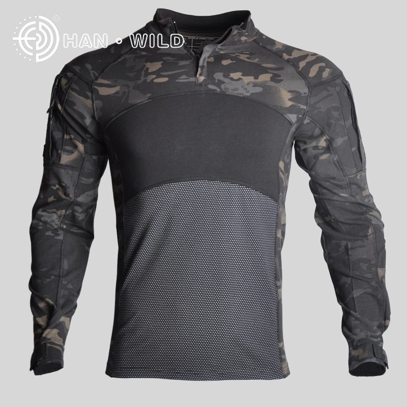 New Outdoor Camouflage tactical Hot t shirt long mens sports suits Cotton 2019 Climb 100% breathable ACU CP tactical jackets - 6