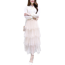 2019 Spring New Fairy French Fashion Chiffon White Blouse Shirt & Ruffled Skirt Suit 2 Pcs Clothing Set Vestidos Women Outfit