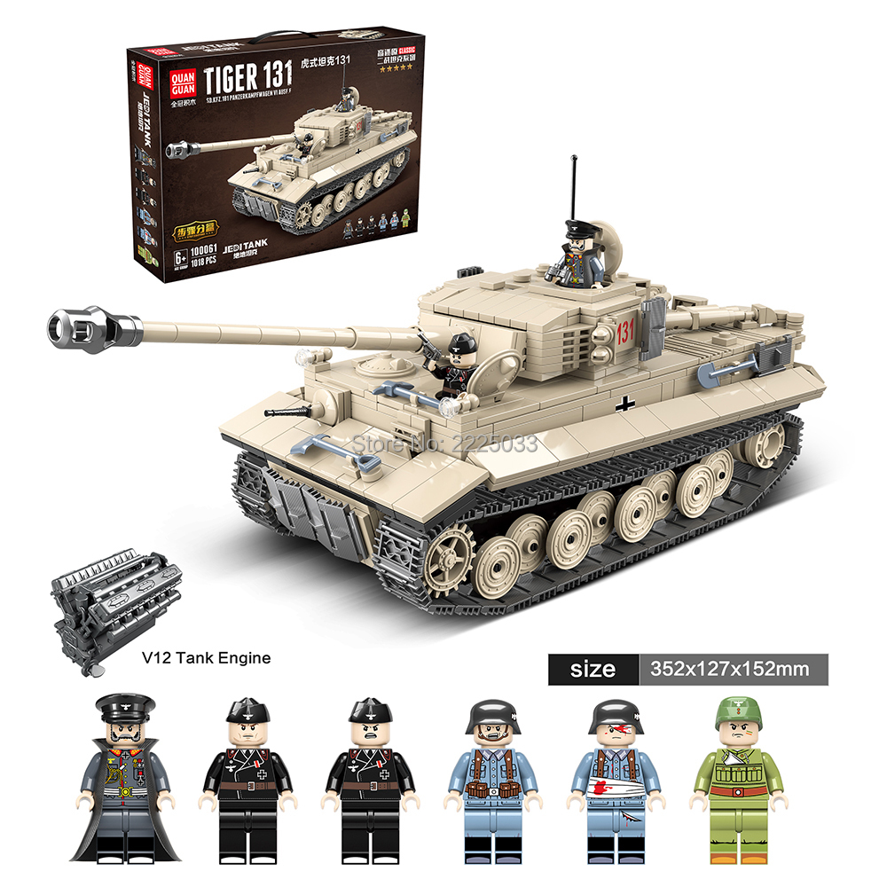 Compatible Legoingly Military WW2 German Tiger 131 Tank Army Soldier Gun  Weapons Building Blocks Bricks Education Toys Boys Gift