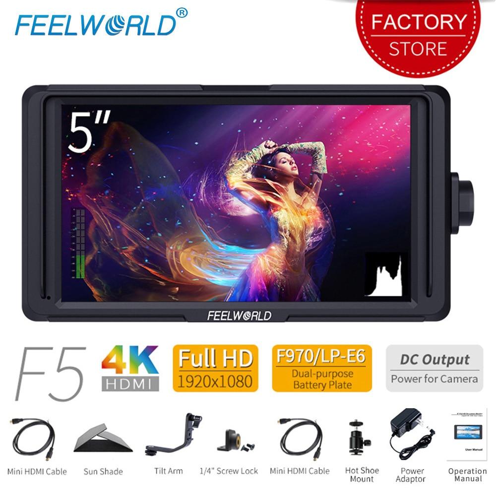 """Feelworld F5 5 """"DSLR na kamery monitor zewnętrzny Full HD 1920×1080 IPS wideo Focus Assist zarysu z 4 K HDMI wejście 8.4 V DC wyjście"""