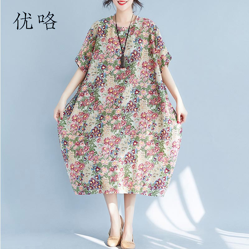 Plus Size Cotton Linen Women Dress Art Printed Short Sleeve Floral Maxi Dress 2019 Summer Fashion Loose Dress 4XL 5XL 6XL 7XL