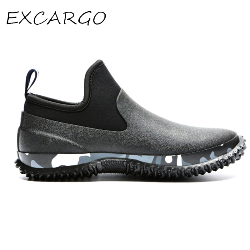 EXCARGO 46 Men Shoes Rubber Boots Waterproof 2019 New Comflage Male Rainboots Slip On Comfortable Rubber Shoes Rain Day Autumn