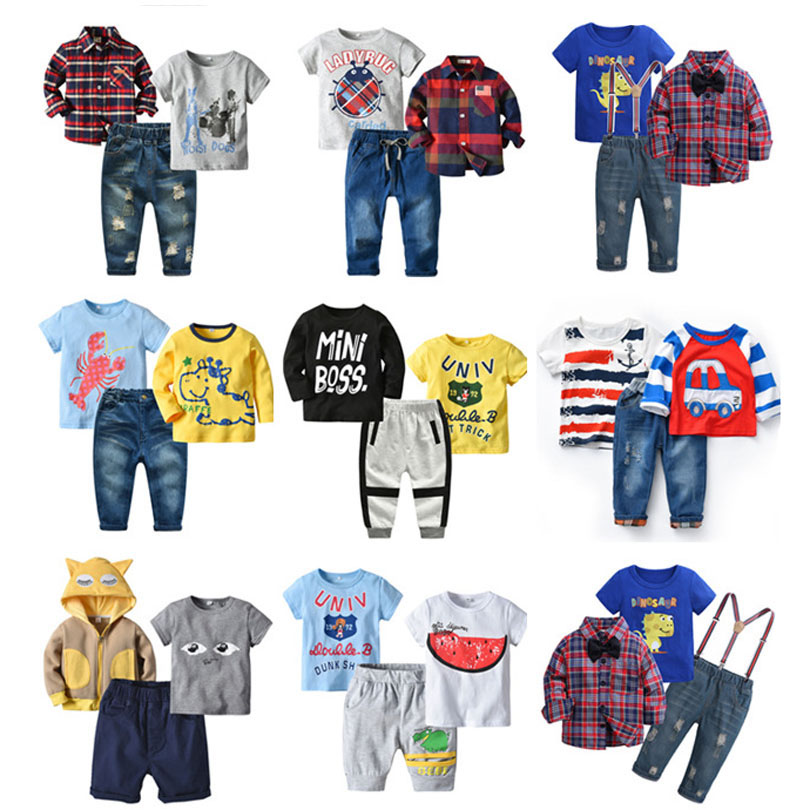 Summer Spring Casual Fall Children Clothing Gentleman Plaid Kids Boys Clothing Sets T-Shirt +Trousers 3 Pcs Boys Clothes Suits