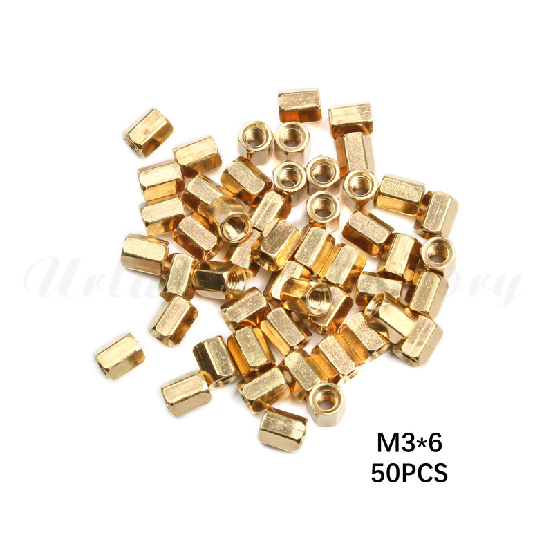 50pcs M3x 10mm Brass Female Hexagonal Screw Nut Pillar Standoff Spacer PCB