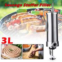 3L Vertical Meat Sausage Press Stuffer Filler Stainless Steel Home Manual Enema Machine Kitchen Meat Tool Tubes Sausage Maker