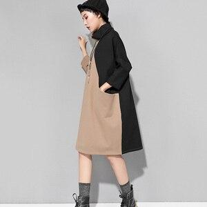 Image 5 - [EAM] 2020 nouveau printemps hiver col haut à manches longues Hit couleur ample grande taille sweat robe femmes mode marée JK399