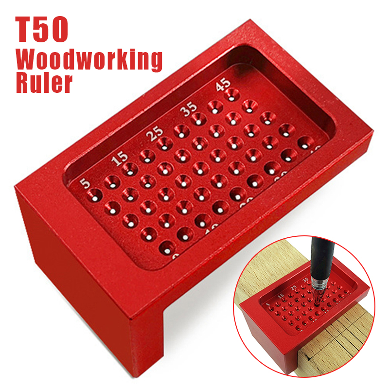 T-50 Measuring Tool T-Type Scribe Mark Measurement Ruler Woodworking Hole Positioning Crossed Gauge Aluminum Alloy RulerT-50 Measuring Tool T-Type Scribe Mark Measurement Ruler Woodworking Hole Positioning Crossed Gauge Aluminum Alloy Ruler
