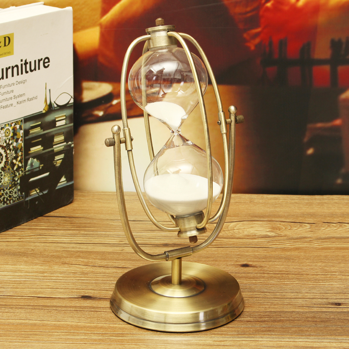 Reloj de arena de 30 minutos reloj de arena de madera Vintage reloj de arena de cristal de reloj de arena temporizadores de té decoración del hogar regalo de adorno de oficina