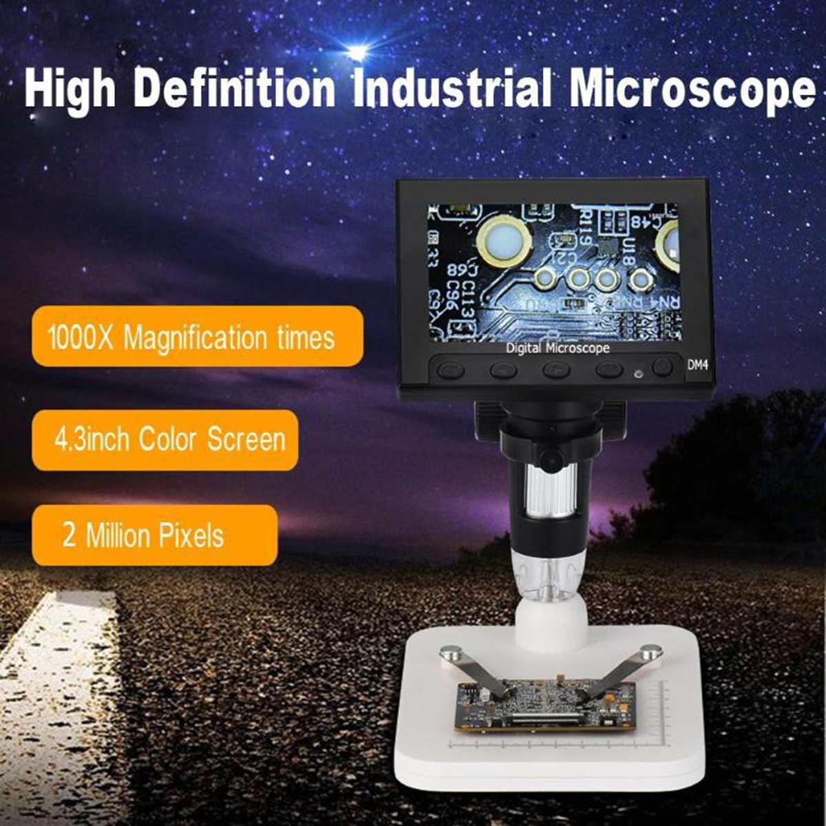 1000x2,0 Мп USB цифровой электронный микроскоп DM4 4,3 ЖК-дисплей Дисплей VGA микроскоп с 8 светодио дный стенд для печатной плате ремонт