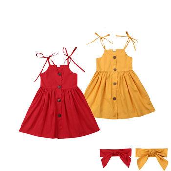 c7321a5b7 1-6Y verano niños bebé niña vestido sin mangas Color sólido botón ...