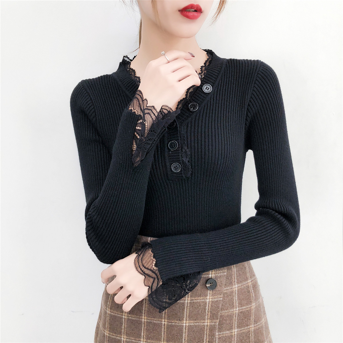 V neck Sweater Women Spring Autumn Slim Knitted Pullover Sweater Female Long Sleeve Lacce Patchwork Sweater Jumper Tops