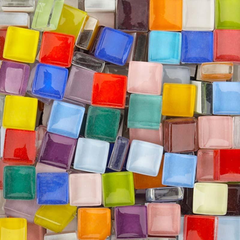 Tessera Rosy White Tesserae 81 Tile Pack Iridescent Mosaic Tiles 10mm