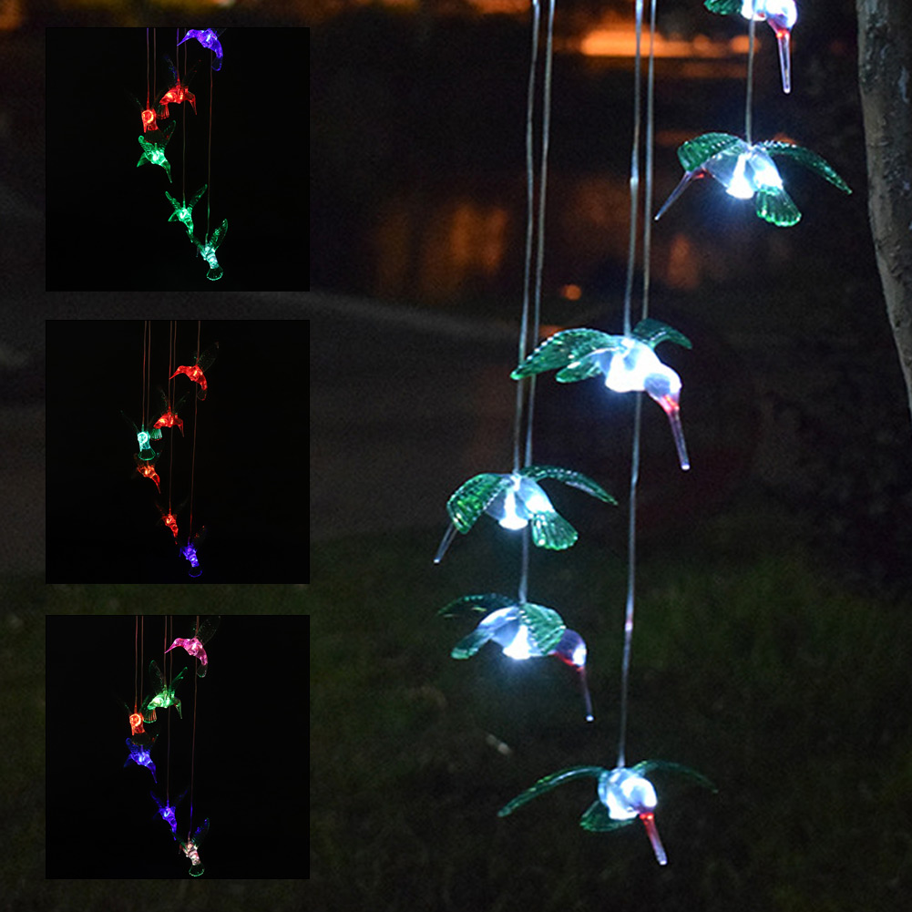 Trochilus LED Solar Wind Bell Chimes Light Color Changing Pendant Bell For Yard Garden Solar Light Courtyard Decoration