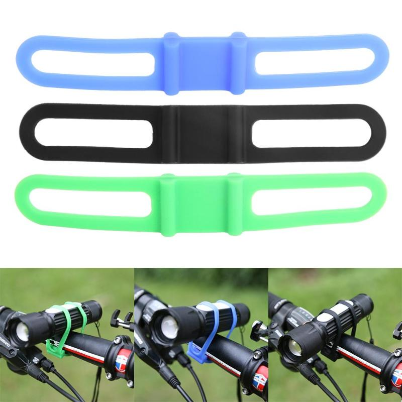Hot Silicone Strap Bandage Torch Band Flashlight Clip Bicycle Light Mount Holder