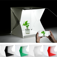 40x40cm Portable Folding Photo Tent Professional Photography Tools Accessories with LED Lights and 4 Background Cloths