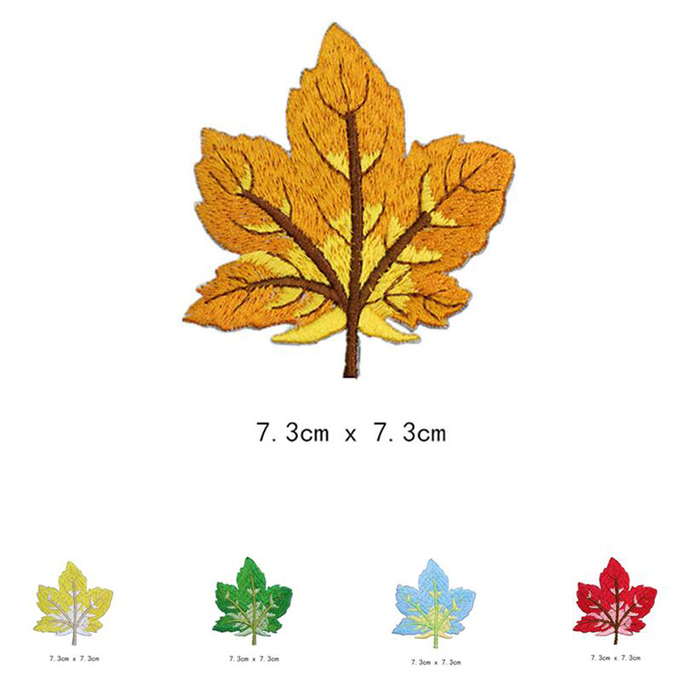 Maple leaves Patches Cap Bag Shoe Iron On Embroidered Appliques DIY Apparel Accessories Patch For Clothing Fabric Badges BU202