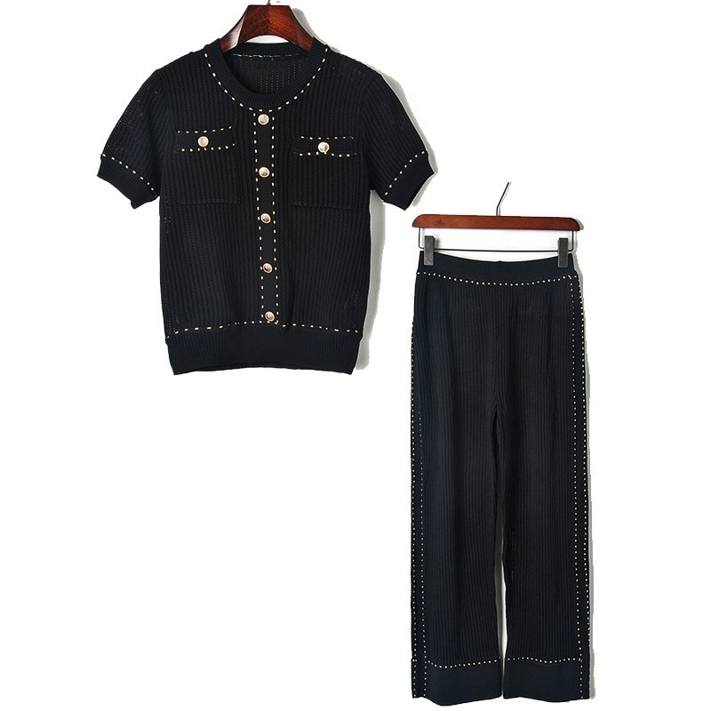 Femmes Courtes New Bas 2019 En Pull Soie Punch Creux Pocket Tricot Manches Ice Costume À Pantalon white Perforation Large Pantalons ZqxqwY