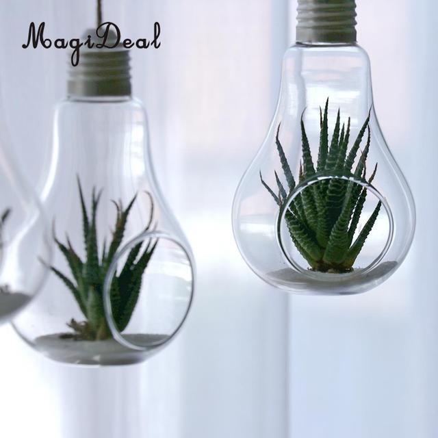 Magideal Wall Hanging Light Bulb Flower Plant Vase Terrarium Cactus