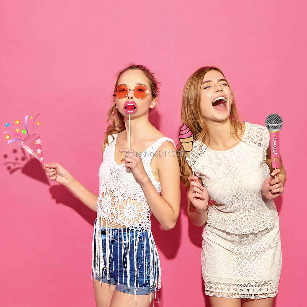 Sweet 16 Years Old Birthday Decoration DIY Party Photobooth Props Pink  Theme Girls Photo Props Party Supplies PZ150