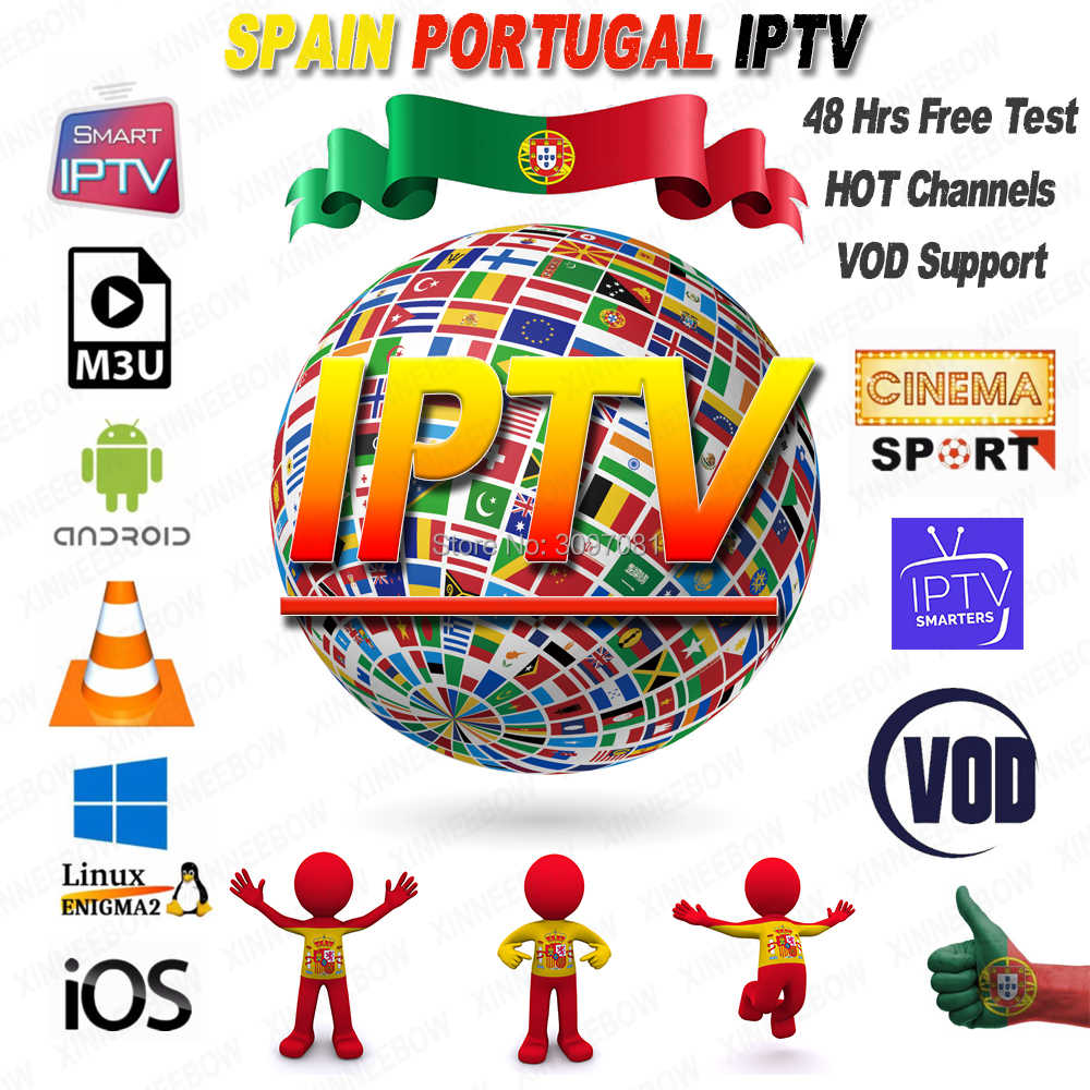 Free Test IPTV Spain Subscription 1 Year IPTV Portugal Abonnement IPTV Subscription M3U with Germany France for Smart TV Enigma2