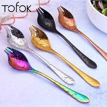 Tofok Multi-Functional Salad OK Fork Spoon Stainless Steel Coffee Stir Spoon Noodles Dessert Serving Bar Tool Kitchen Tableware 2pcs double metal stir spoon for coffee salad dinner