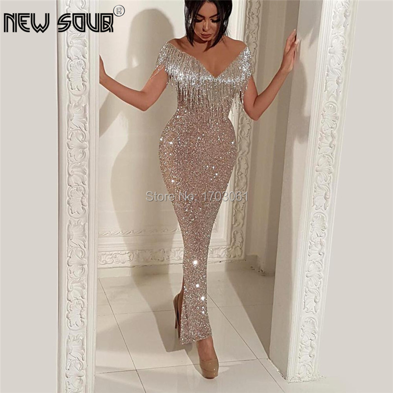 Glitter Long Formal   Dress   Saudi Arabic Beaded Shiny   Evening     Dresses   Robe de Soiree Celebrity Gowns Dubai Turkish Prom Gown 2019