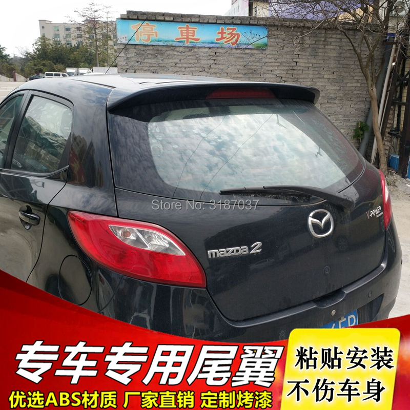 For <font><b>Mazda</b></font> <font><b>2</b></font> Mazda2 hatchback <font><b>Spoiler</b></font> ABS Plastic Unpainted Color Rear <font><b>Spoiler</b></font> Wing Trunk Lid Cover Car Styling image