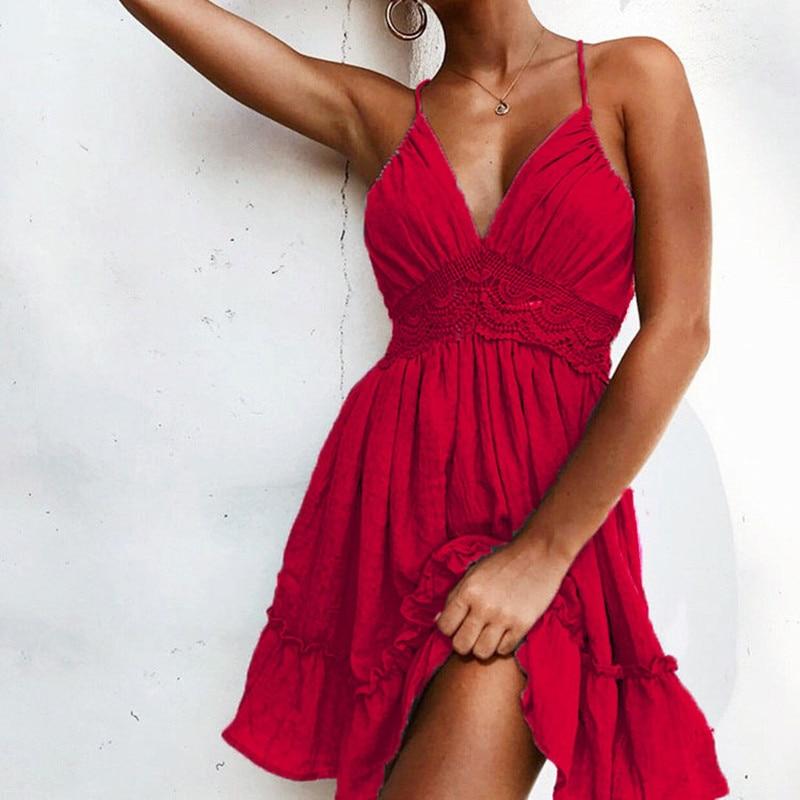 Oulylan Summer Women Lace Dress Sexy Mini Beach Dresses 2019 Luxury Sleeveless Spaghetti Strap V-neck White Backless Sundress