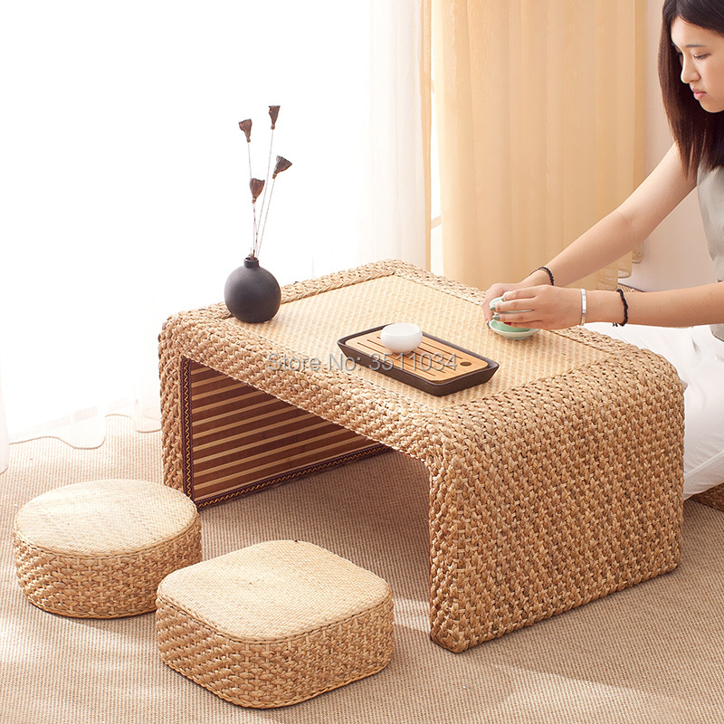 Japanese and Korean vine-woven straw-woven tatami tea table platform, Kang table, floating window table, small tea tableJapanese and Korean vine-woven straw-woven tatami tea table platform, Kang table, floating window table, small tea table