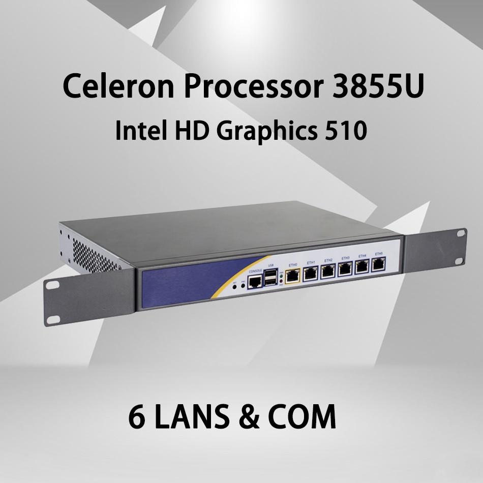 Firewall Mikrotik Pfsense VPN Network Security Appliance Router PC Intel Celeron 3855U,[HUNSN SA04R],(6LAN/2USB2.0/1COM/1VGA)