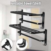 Xueqin 490/590mm Black Alumimum Foldable Towel Holder Towel Shelf Wall Mounted Bathroom Towel Rack Storage Hanger Shelf
