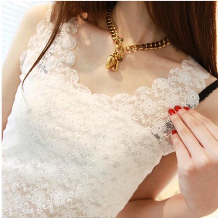 Sexy Lace Based Sleeveless Vest   Tank     Top   Tee T-Shirt solid color Camisole Cami Shirt Slim Women   Tops   Stitching lace tshirt 2019