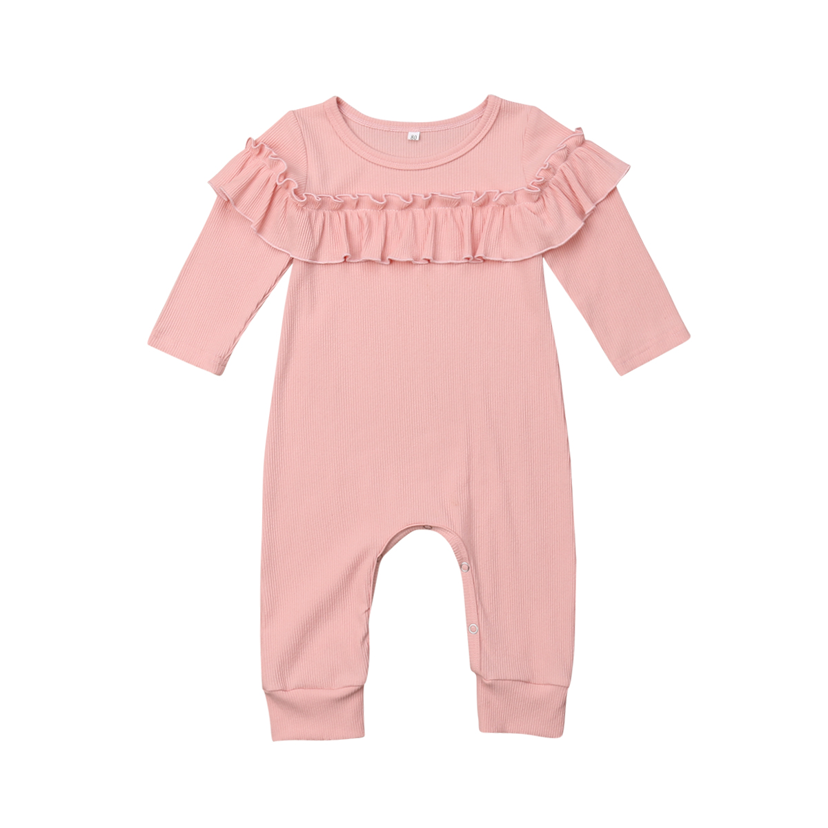 Newborn Baby Girls Cotton   Romper   Long Sleeve Ruffle Solid Jumpsuit Outfits Clothes Playsuit