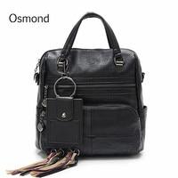 Osmond 2018 Feminine Back Packs Black Women Backpack PU Leather School Bag For Teenage Girls Travel Bags Female Knapsack Bolsa