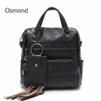 Osmond 2018 Feminine Back Packs Black Women Backpack PU Leather School Bag For Teenage Girls Travel Bags Female Knapsack Bolsa