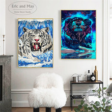 Tiger Lion In Sea Wave Ukiyo-e Artwork Poster Prints Oil Painting On Canvas Wall Art Murals Pictures For Living Room Decoration