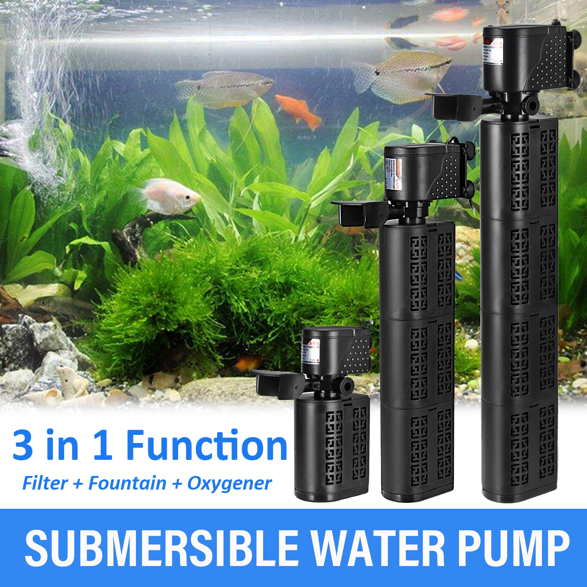 Fish Tank Oxygen Pump Aquariums Oxygen Pump Fountain LED Submersible Water Pump