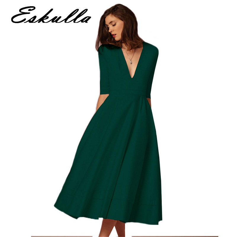 Eskulla Summer Casual Women Solid Office Lady Dress Elegant Ball Gown Dress Female Sexy V Neck Long Party Dresses Plus Size in Dresses from Women 39 s Clothing