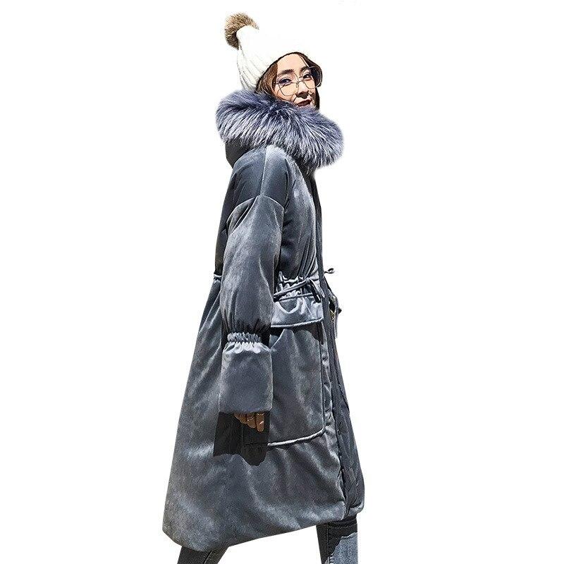 Big Hair Collar Velvet Long Cotton Padded Coat Female 2018 Ukraine Down Cotton Parka Winter Jacket Women Bread Clothes A614