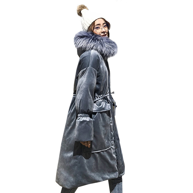 Big Hair Collar Velvet Long Cotton Padded Coat Female 2018 Ukraine Down Cotton   Parka   Winter Jacket Women Bread Clothes A614