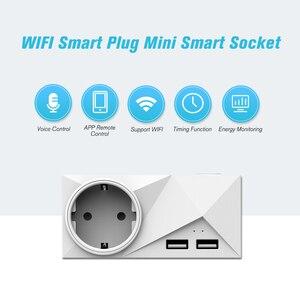 Image 4 - Wi fi Tomada Inteligente Mini 2 Saídas Duplas Portas USB Tomada Inteligente com Monitoramento De Energia & Função de Temporização, controle de voz Compatível