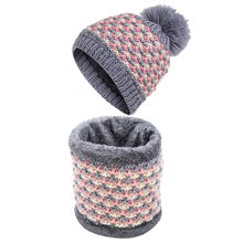 IANLAN Casual Hat Scarf Set for Women Colorful Knitted Scarves Hats Girls Winter Outdoor Thickening Warm Beanie IL00066