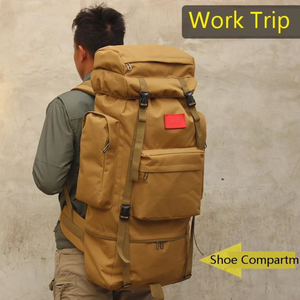 80L Outdoors Mountaineering Camp Shoe Backpack Male Camouflage Luggage Men Travel Bags Duffle Big Duffel Weekend Bag VS