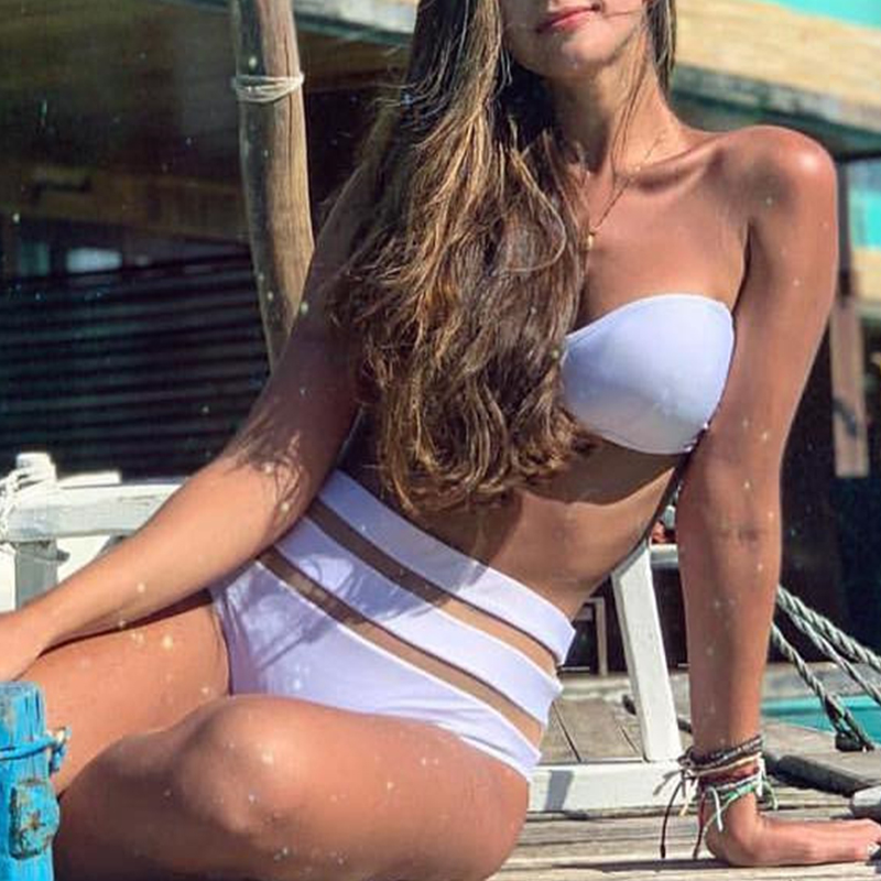 Peachtan High waist bikinis 2019 mujer Sexy mesh swimsuit women bathers biquini Push up swimsuit female V-neck beach wear summer 4