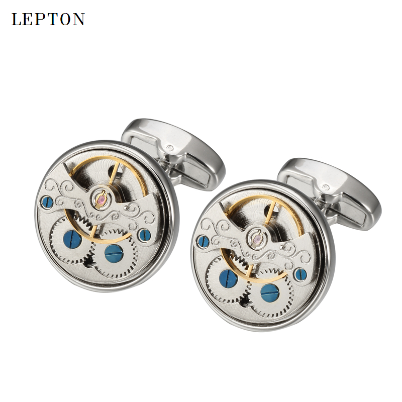 Hot Sale Watch Movement Cufflinks For Mens Lepton Immovable Steampunk Gear Watch Mechanism Cuff Links Men Shirt Cuffs Cufflink