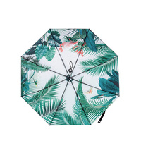 Wind Resistant Creative Women Leaves 3 Folding Automatic Anti UV Sun Durable Umbrella Windproof Unique Female Parasol