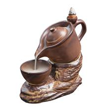 Teapot Backflow Incense Burner Smoke Waterfall Incense Burner Holder Brown Ceramic Incense Censer Use In Home Office Teahouse creative fly dragon incense burner bunker smoke waterfall incense burner incense cone sticks holder use in home office teahouse